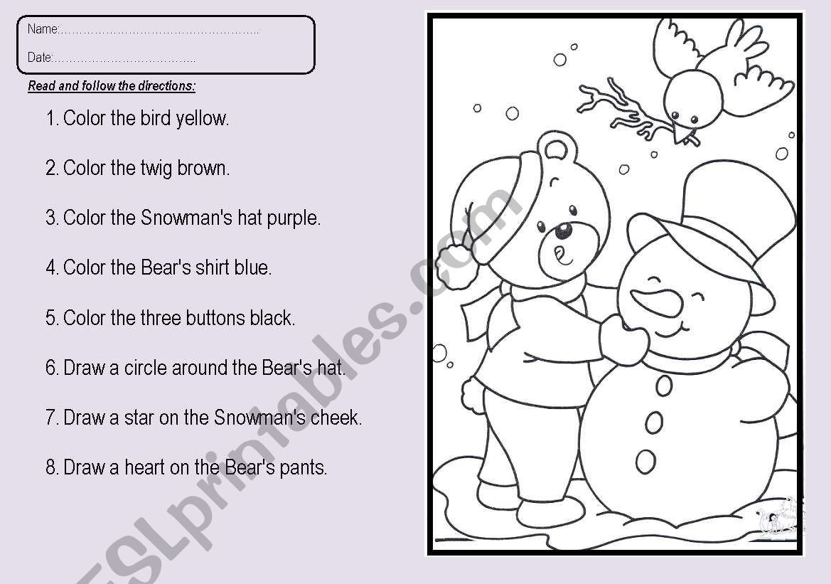 Following Directions Coloring Worksheet Following Directions Esl Worksheet by Shebeeh