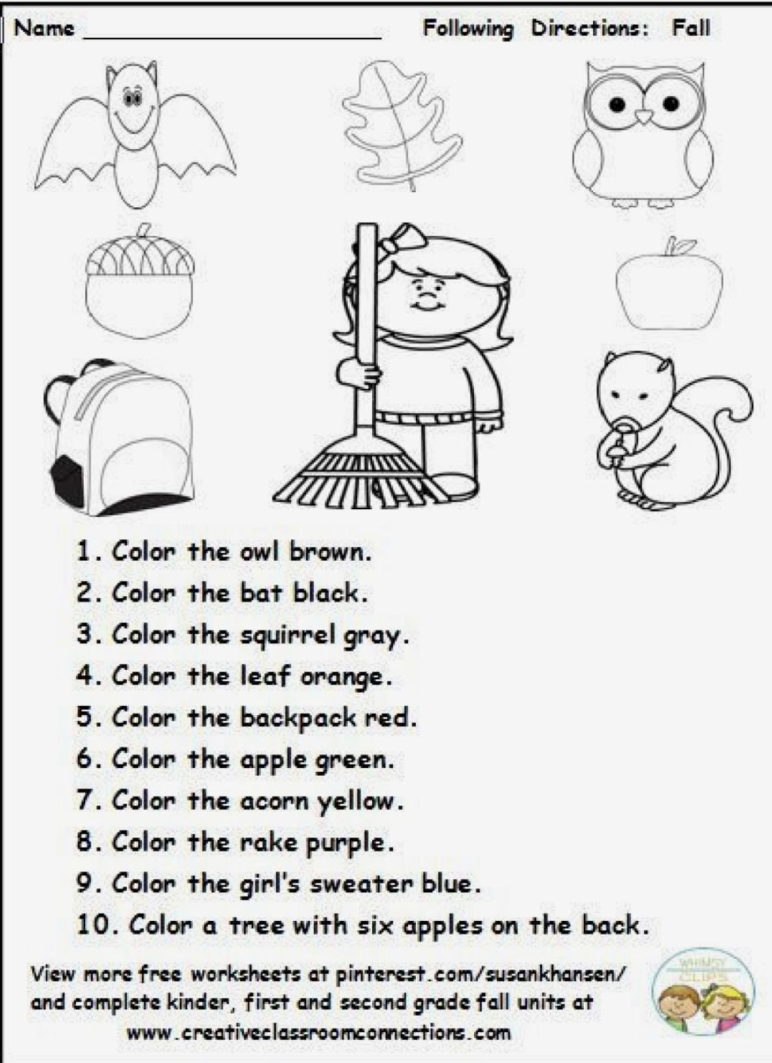 Following Directions Coloring Worksheet Following Directions