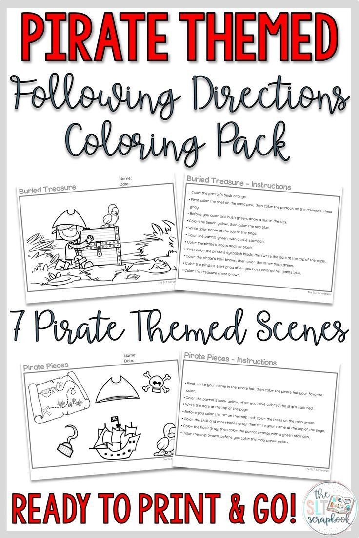 Following Directions Coloring Worksheet Pirate themed Following Directions Coloring Pack Mixed