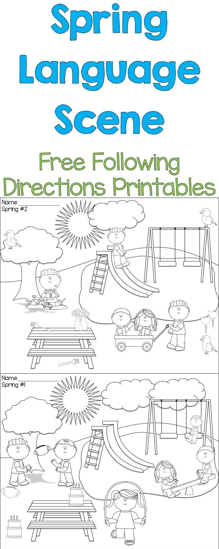Following Directions Coloring Worksheet Spring Language Scenes with Images