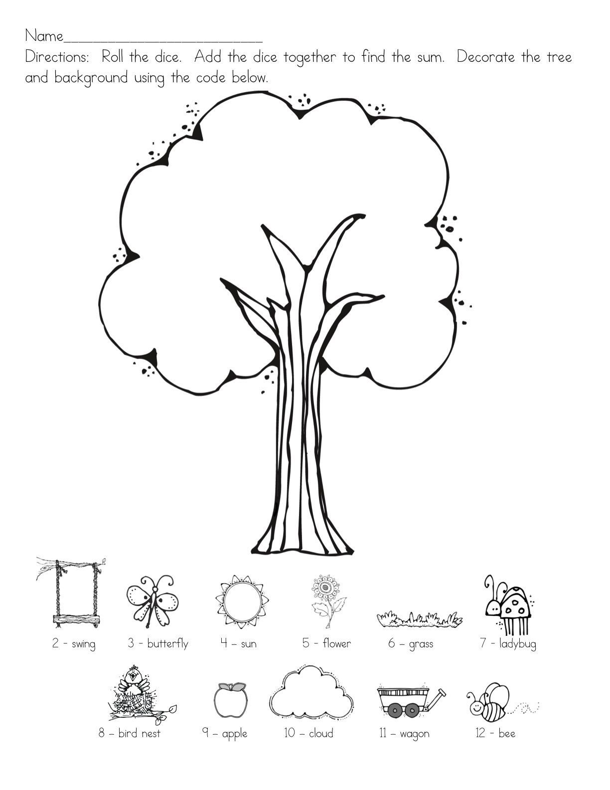 Following Directions Coloring Worksheet Summer Roll the Dice 1224—1584
