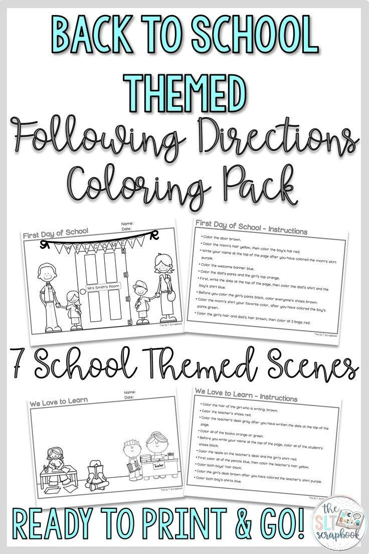 Following Directions Coloring Worksheet these No Prep Back to School themed Following Directions