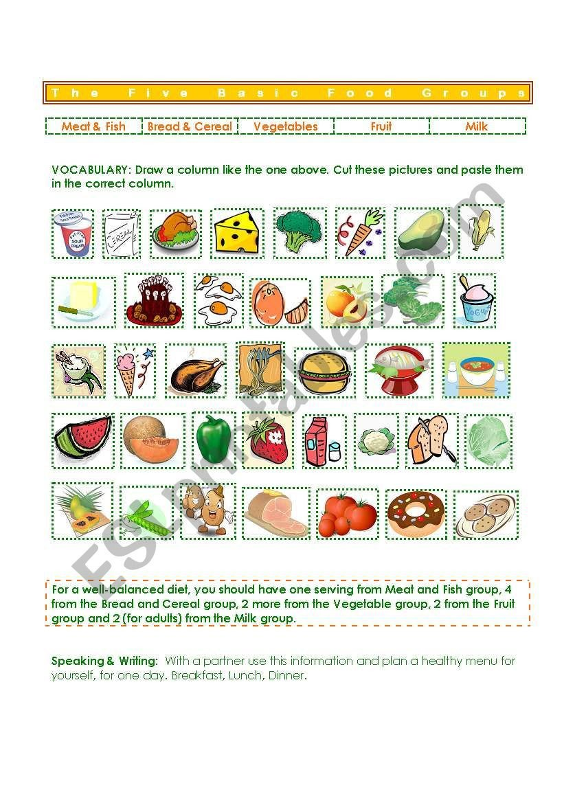 Food Group Worksheets Five Basic Food Groups Esl Worksheet by Gisel