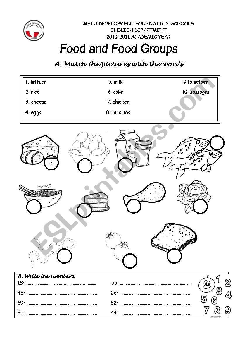 Food Group Worksheets Food Groups Esl Worksheet by Grkm