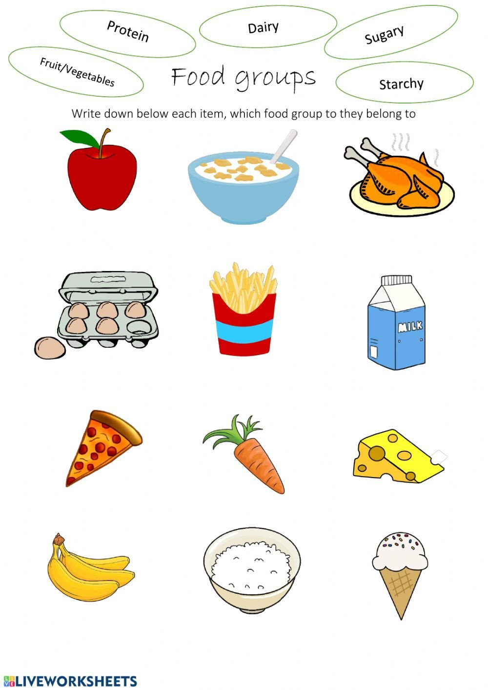 Food Group Worksheets Food Groups Interactive Worksheet