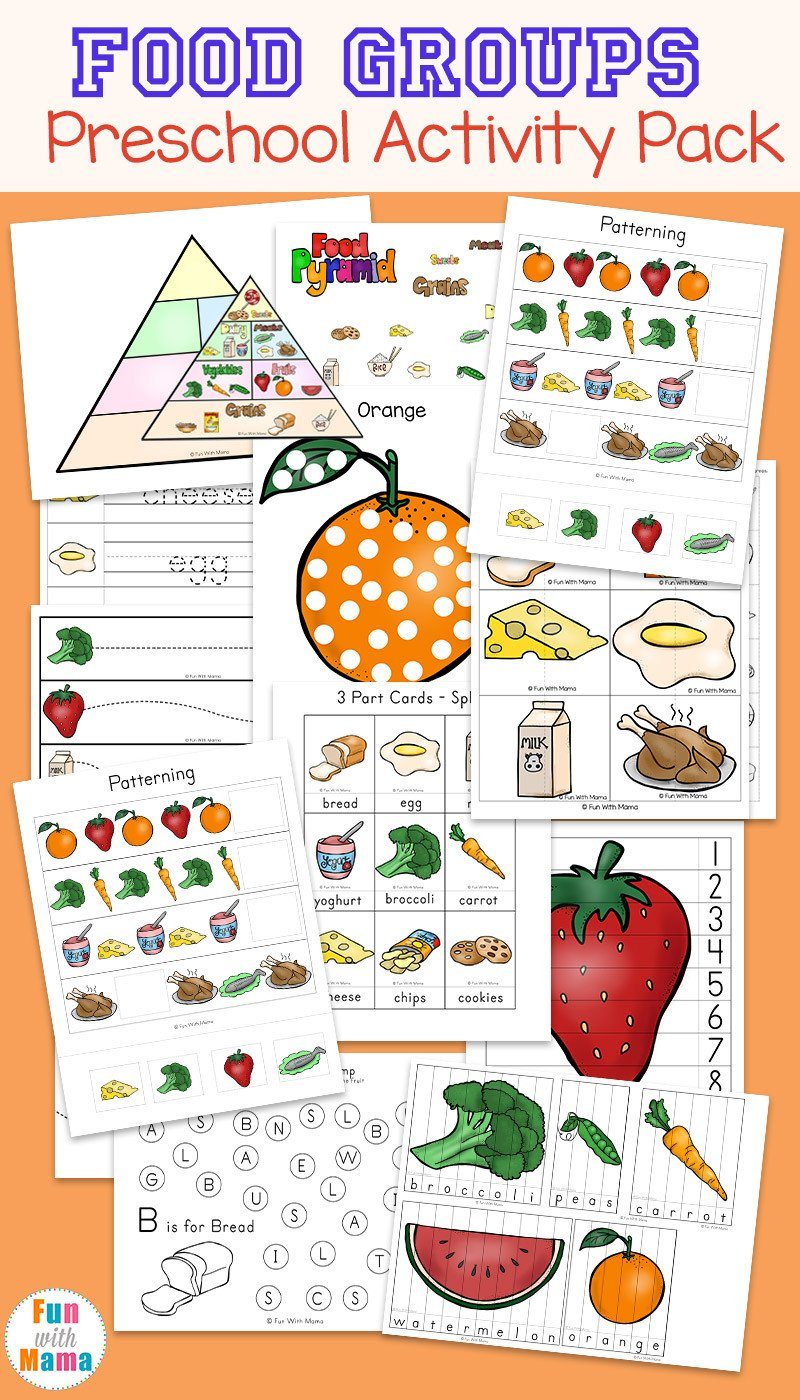 Food Group Worksheets Food Groups Preschool Activity Pack Fun with Mama