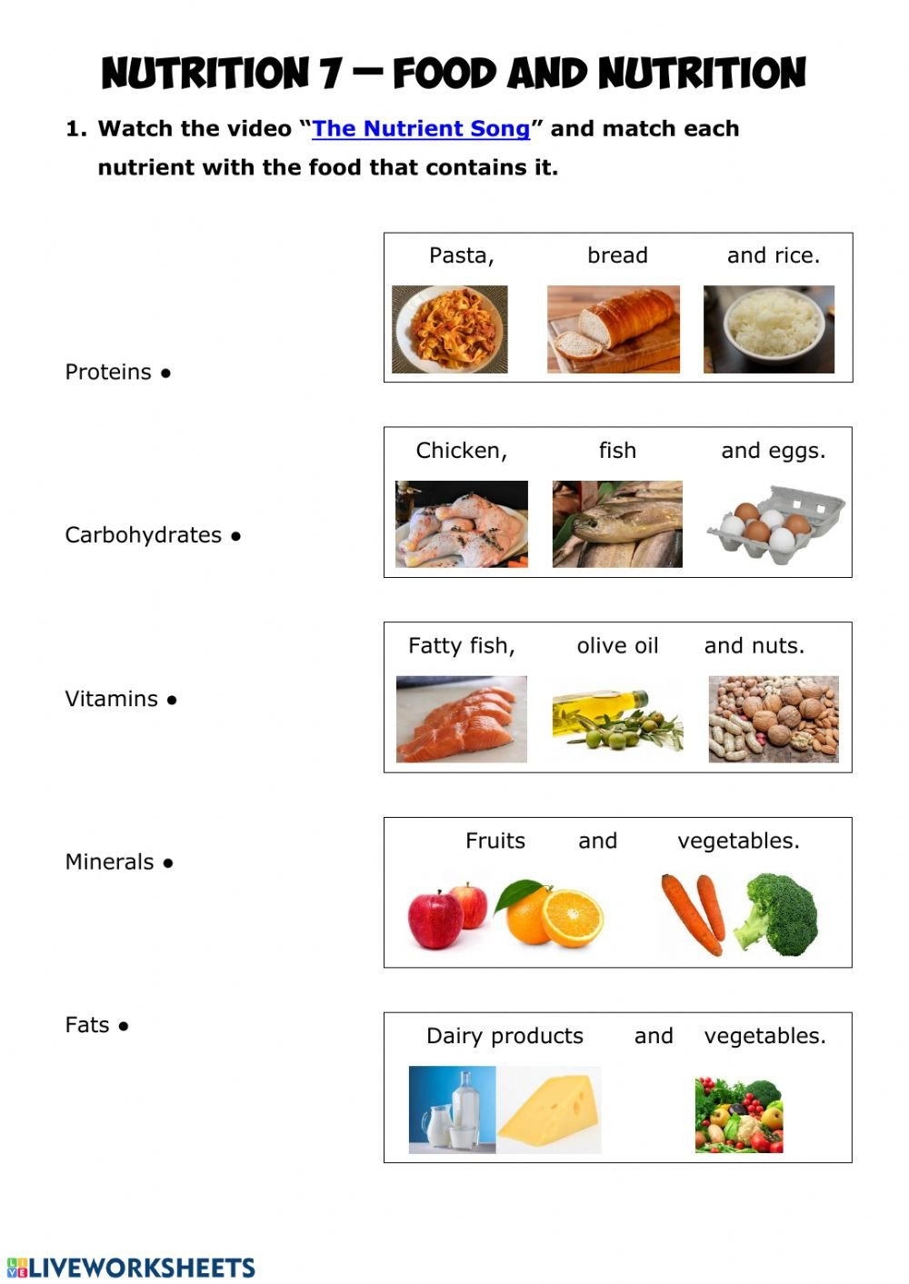 Food Group Worksheets Nutrition 7 Food and Nutrition Interactive Worksheet