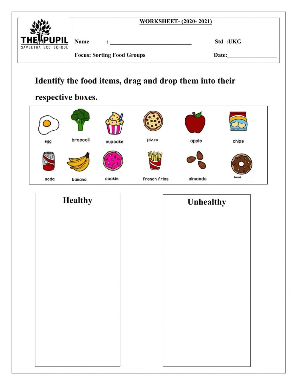 Food Group Worksheets sorting Food Groups Interactive Worksheet