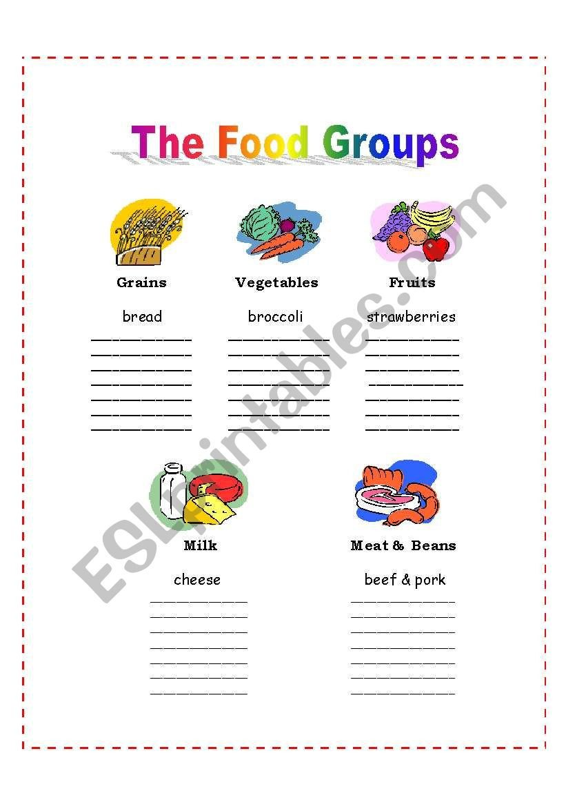 Food Group Worksheets the 5 Food Groups Esl Worksheet by Nalawood