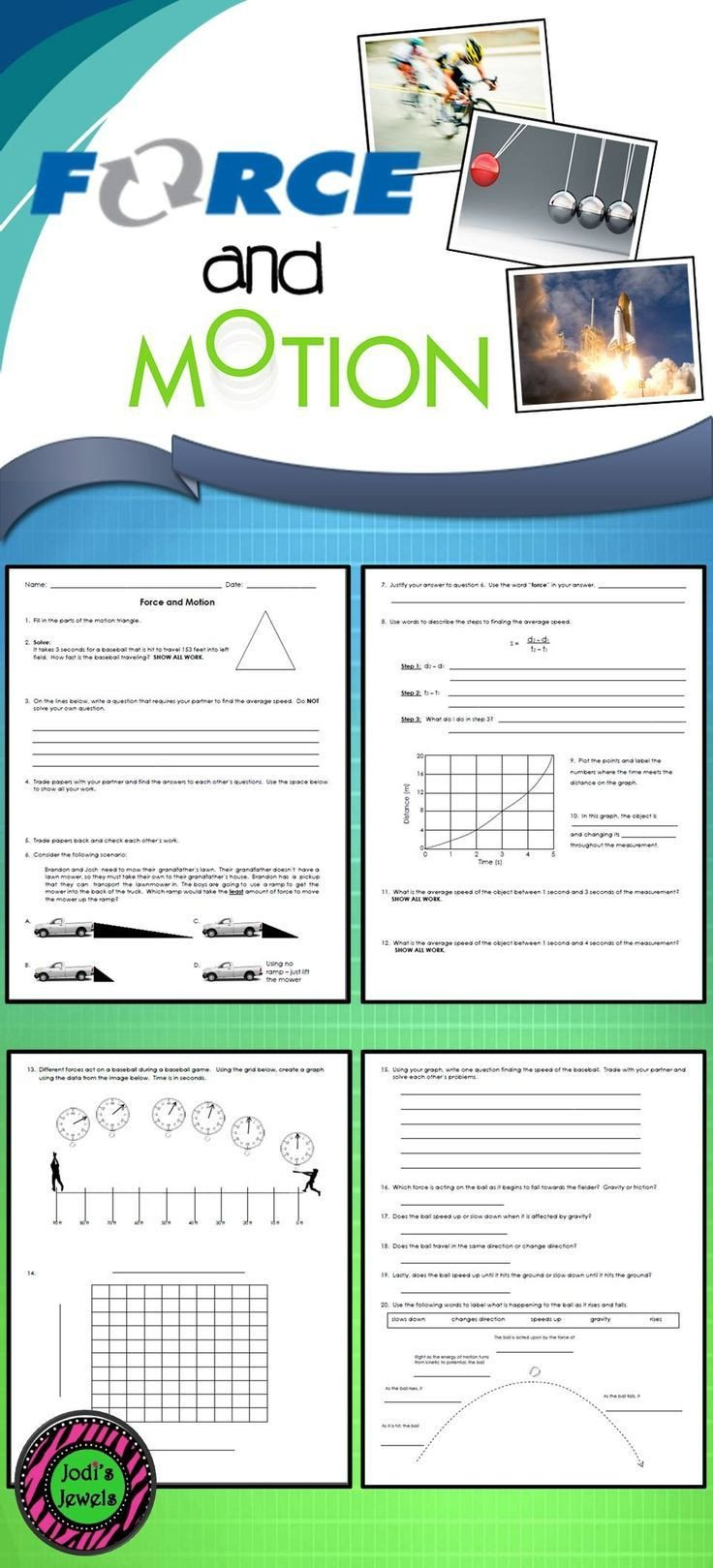 Force Motion and Energy Worksheets force and Motion Ws 2