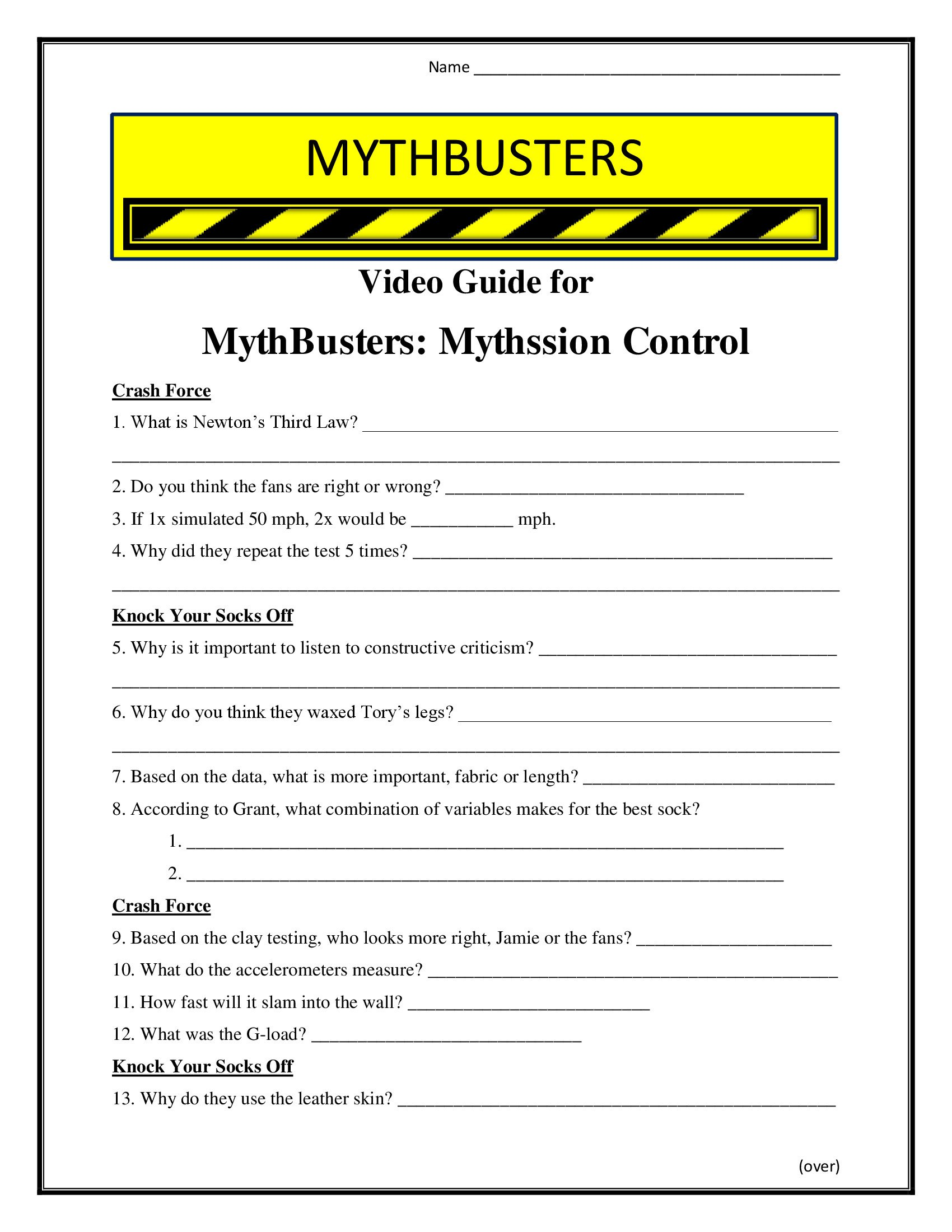 Force Motion and Energy Worksheets Mythbusters Mythssion Control Worksheet Season 7