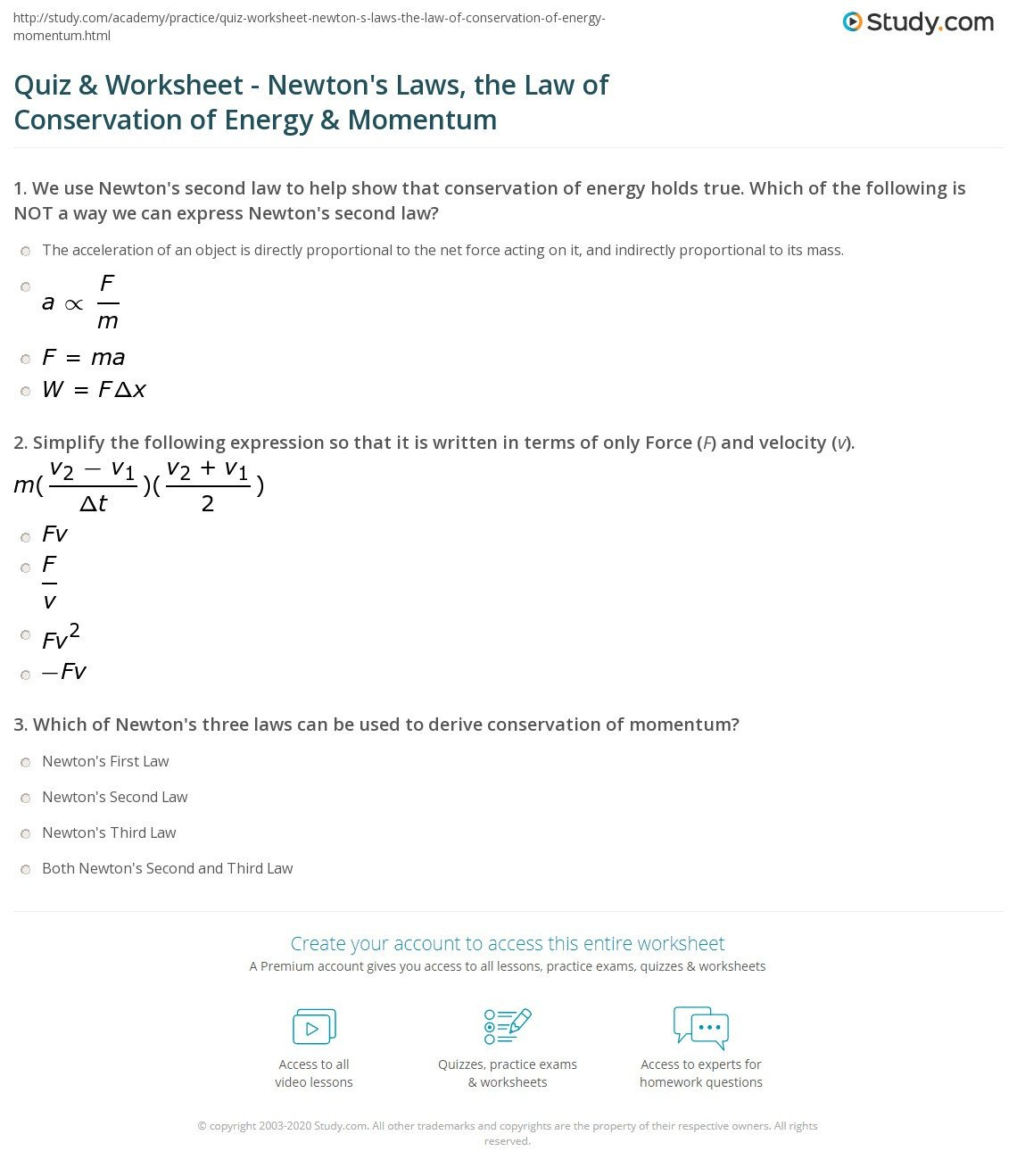 Force Motion and Energy Worksheets Quiz & Worksheet Newton S Laws the Law Of Conservation Of