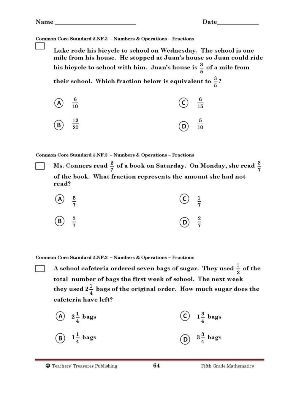 Fractions Common Core Worksheets Mon Core Phonics Worksheets