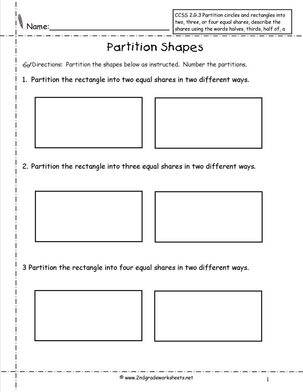 ccss 2g3 worksheet 3rd grade fractions math geometric shapes 3