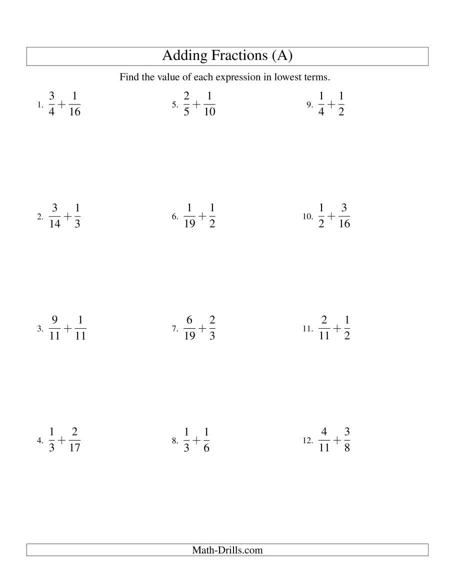 Fractions Worksheets Grade 4 Pdf Adding Fractions with Unlike Denominators A