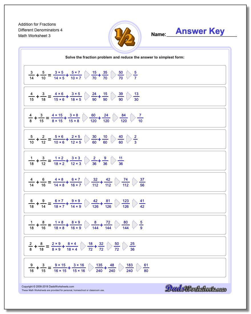 Fractions Worksheets Grade 4 Pdf Adding Fractions with Unlike Denominators