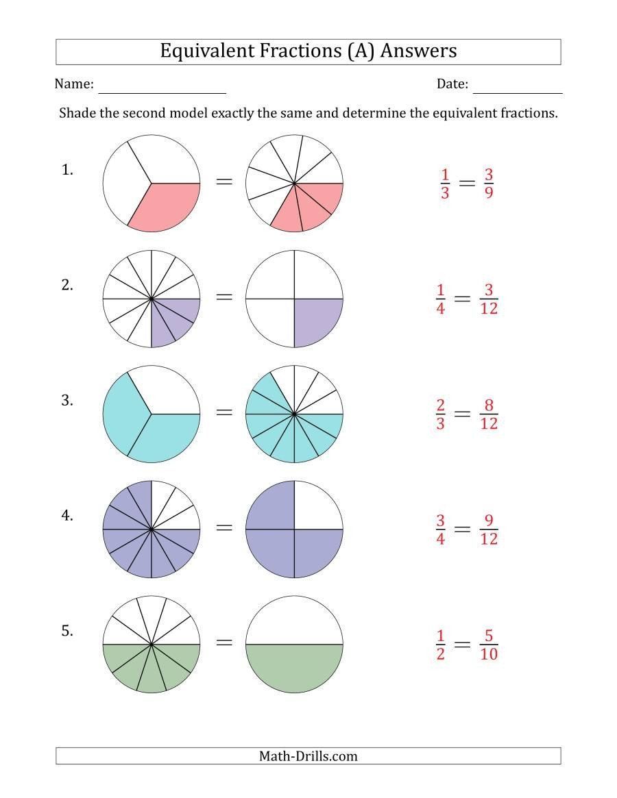 Fractions Worksheets Grade 4 Pdf Equivalent Fractions Models A