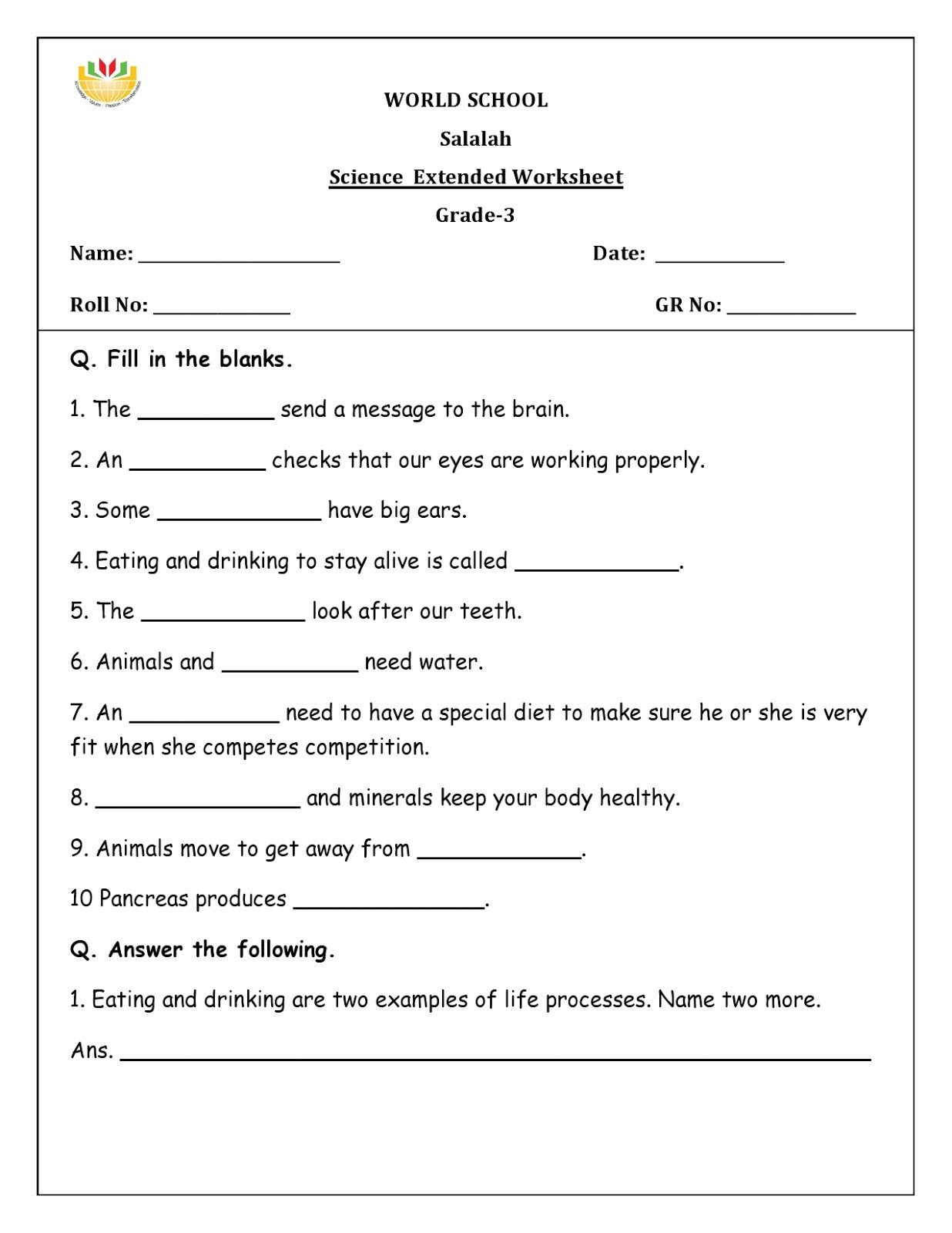 Free 6th Grade Science Worksheets Science Worksheets for Grade to Educations Math Games