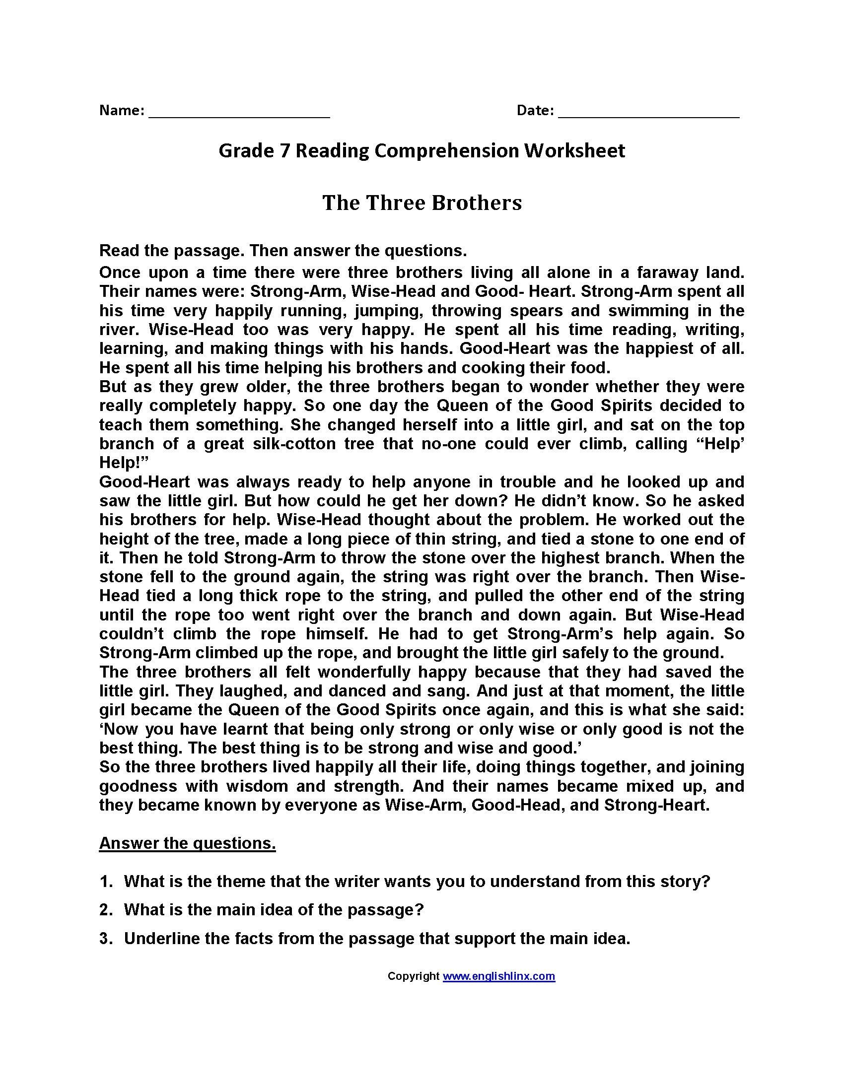 Free 7th Grade Reading Worksheets 3 Worksheet Punctuation Jungle Book Prehension Fourth In