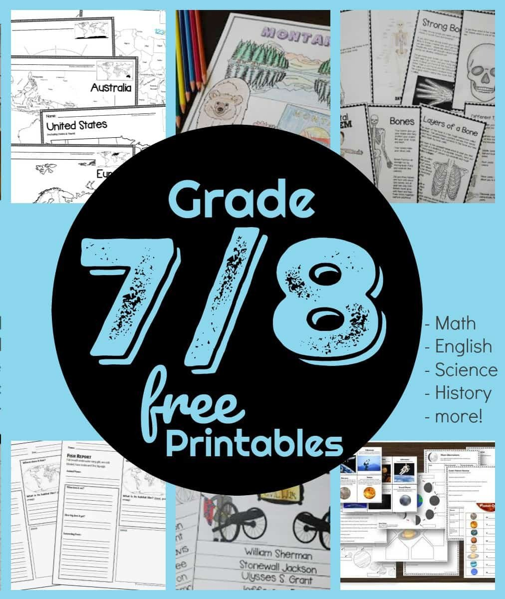 Free 7th Grade Reading Worksheets Free 7th & 8th Grade Worksheets