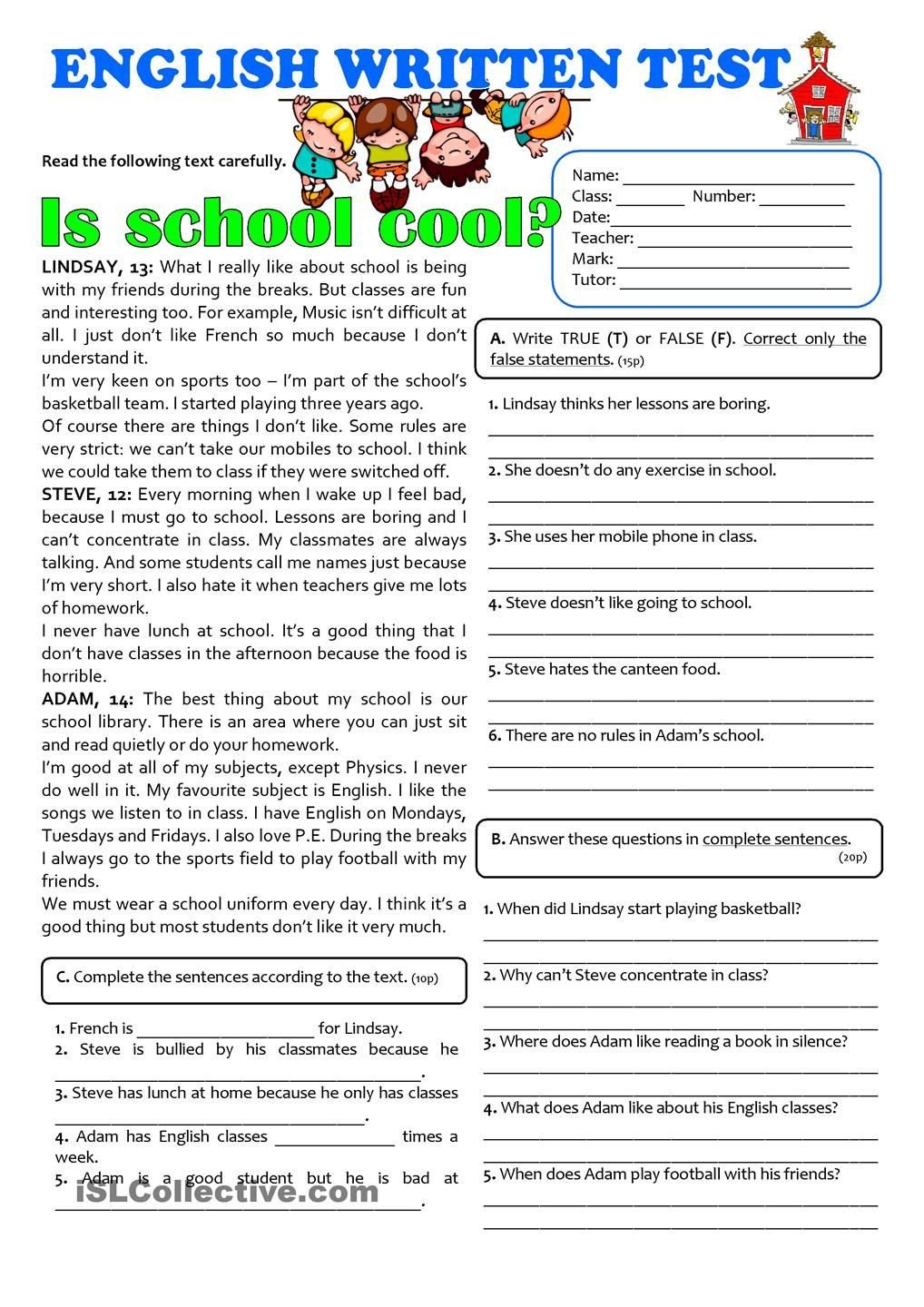Free 7th Grade Reading Worksheets is School Cool 7th Grade Test