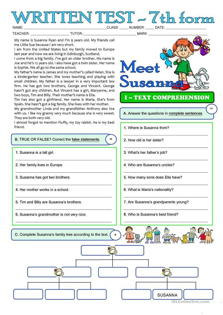 Free 7th Grade Reading Worksheets Susanna S Family 3 Page Test 7th Grade Worksheet Free