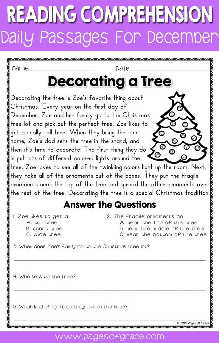 reading prehension passages and questionsr december seasons short story first grade classroom free online 1st printable print out