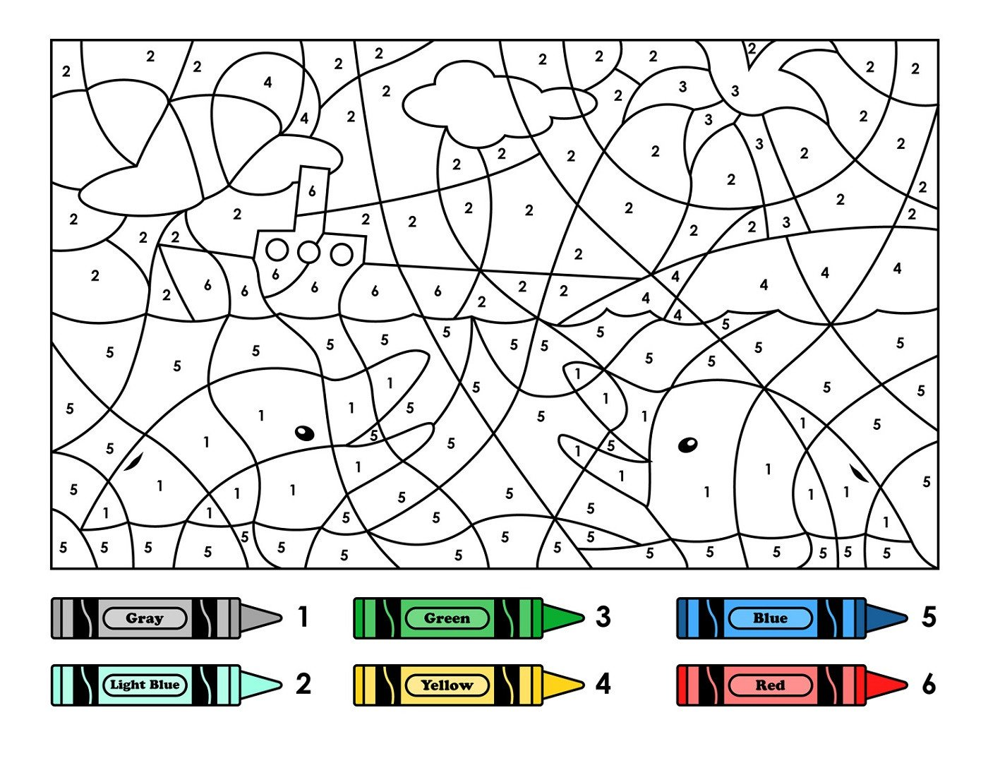 Free Color by Numbers Worksheets Easy Color by Number for Preschool and Kindergarten