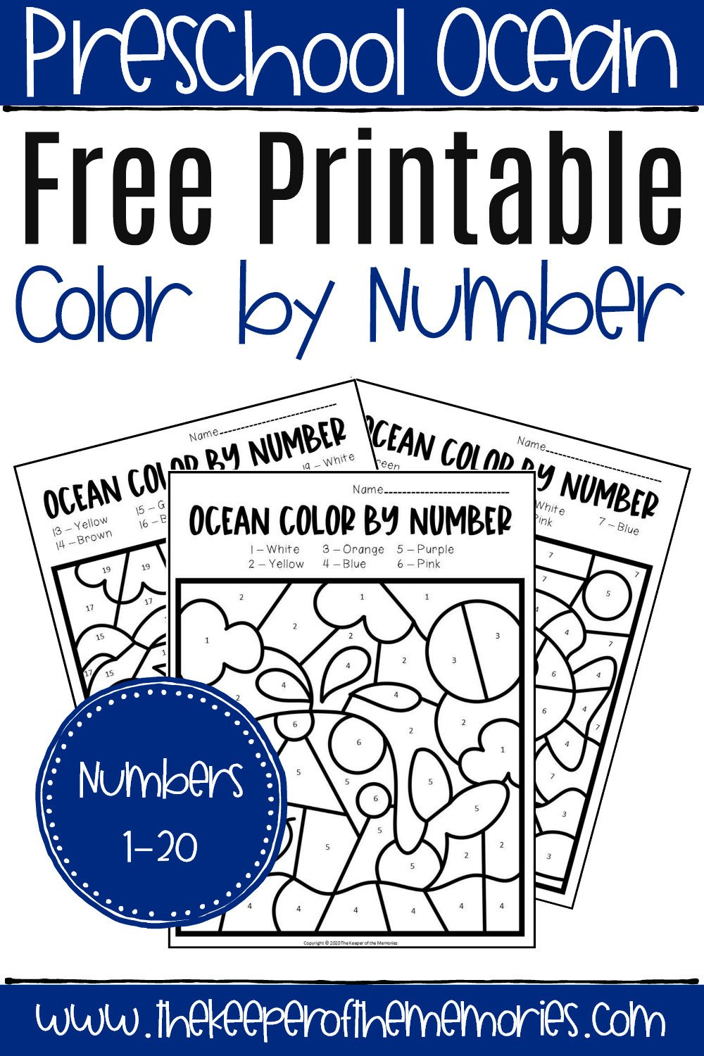 Free Color by Numbers Worksheets Free Printable Color by Number Ocean Preschool Worksheets