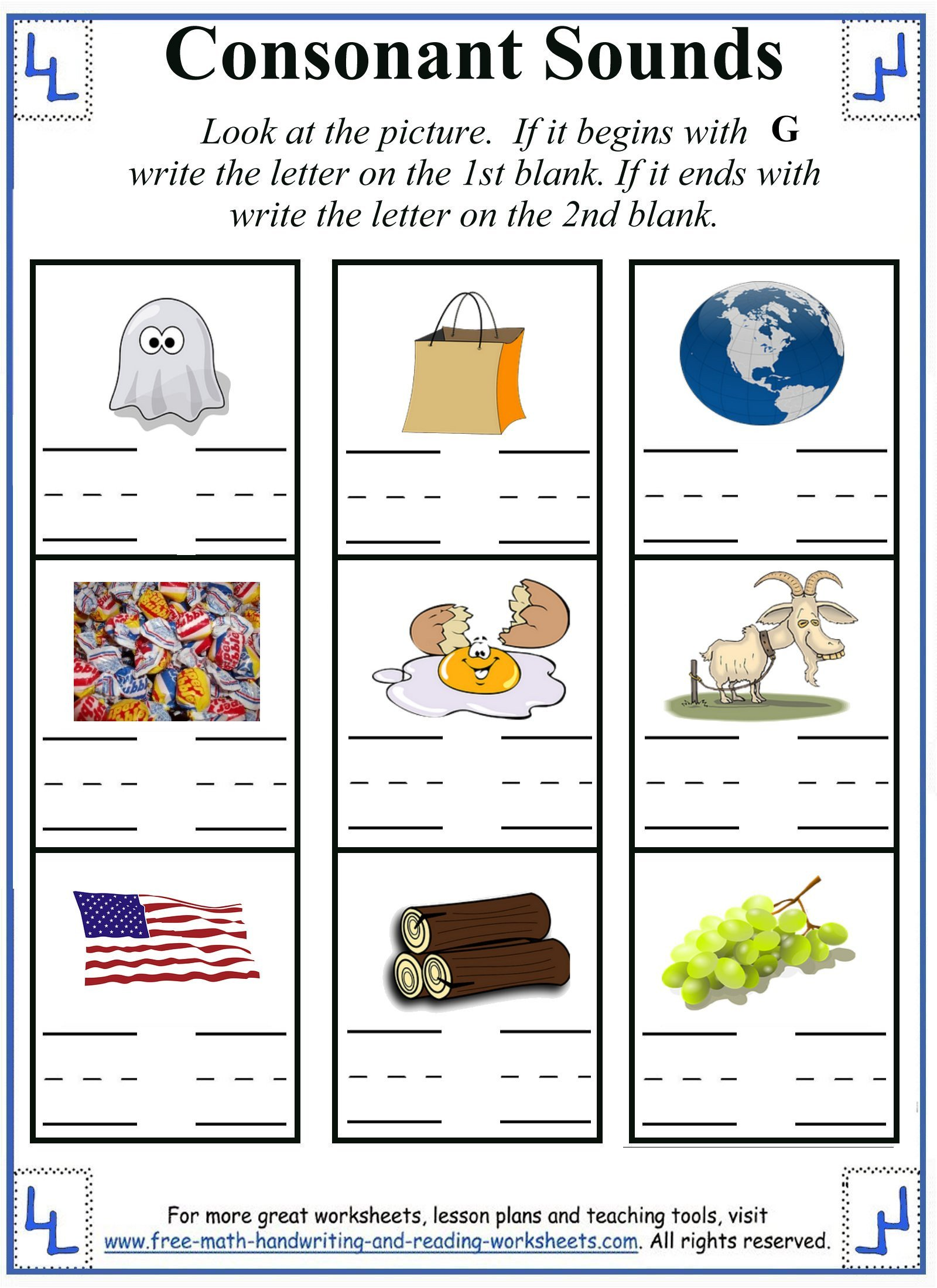 Free Ending sounds Worksheets All sound Worksheet