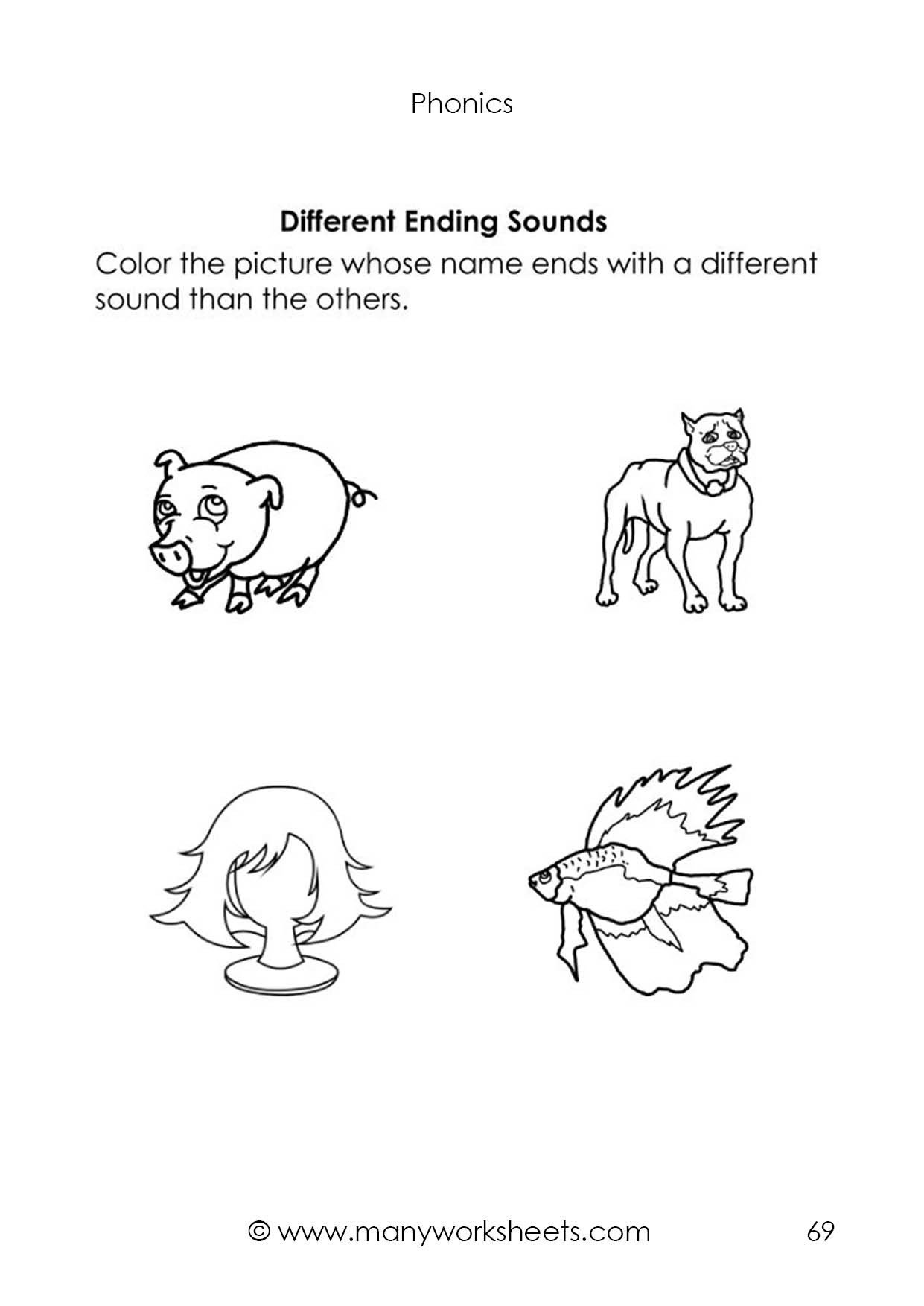 Free Ending sounds Worksheets Different Ending sounds Worksheet 3