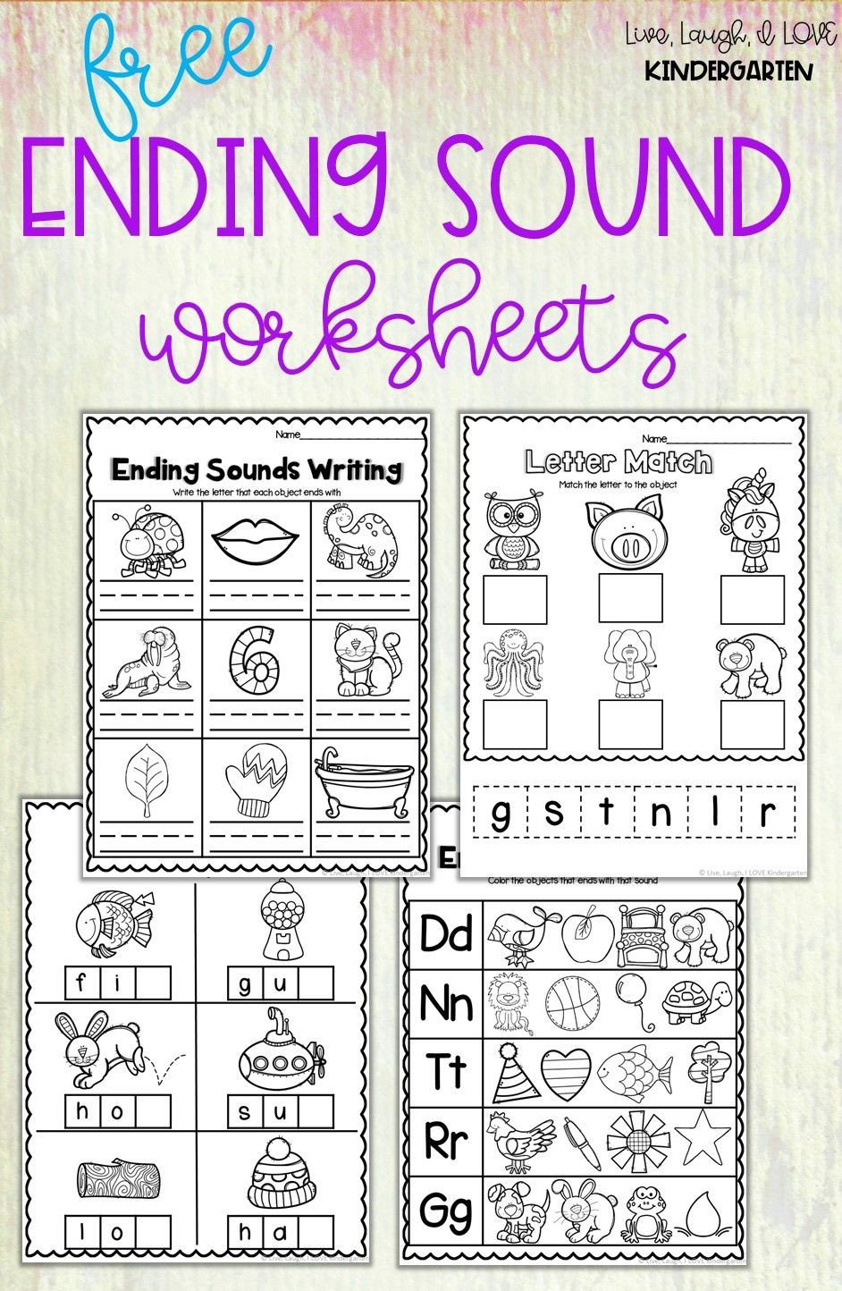 Free Ending sounds Worksheets Free Ending sound Worksheet