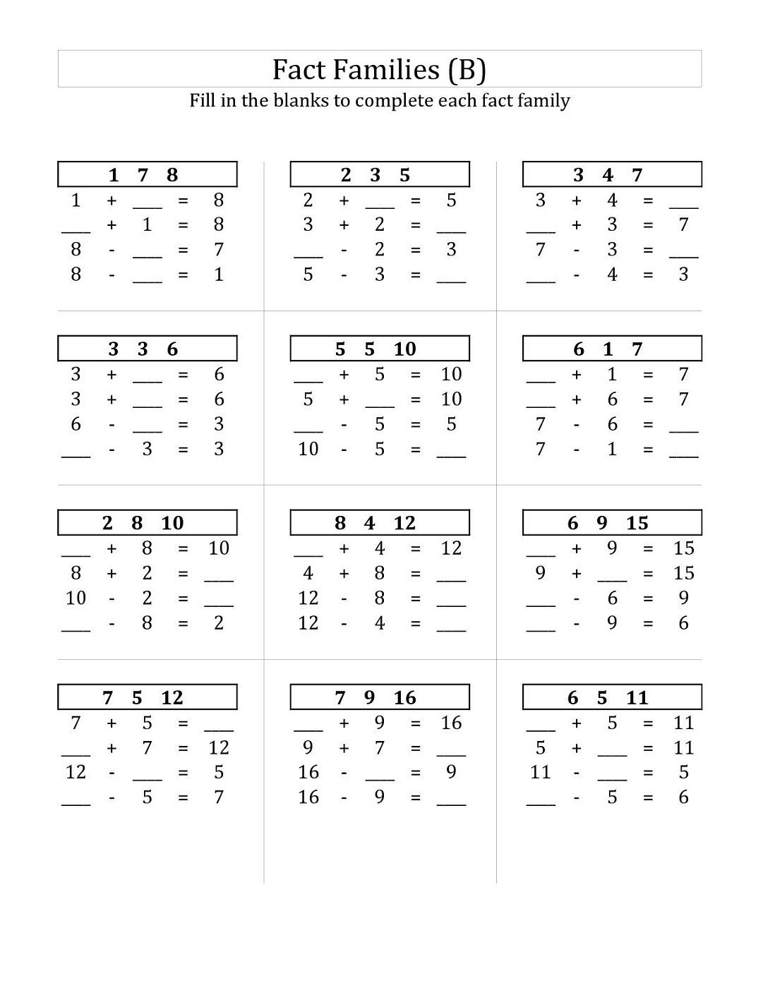 fact family worksheets for first grade printable