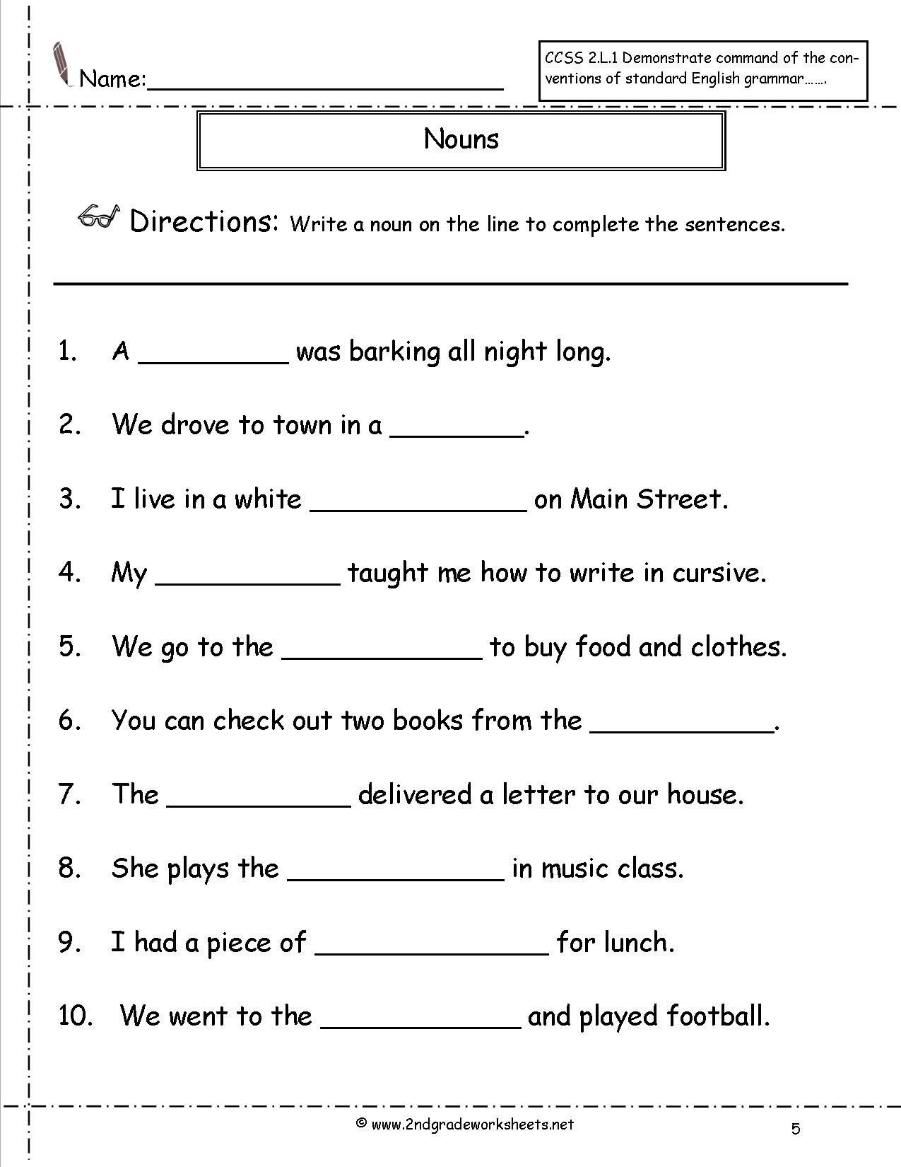 english grammar noun worksheet for grade 1 elegant nouns worksheets