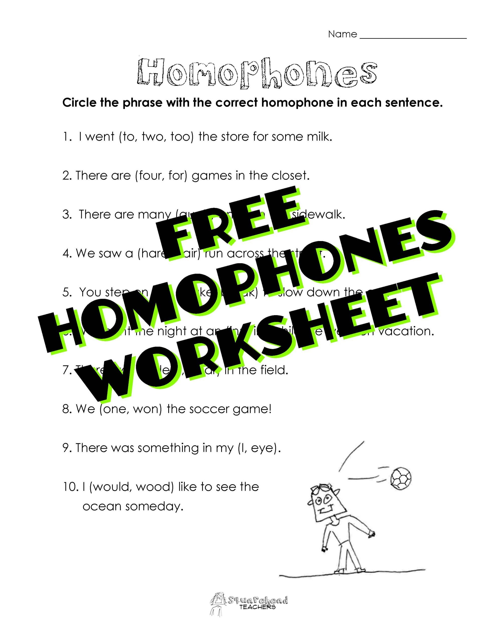 homophones worksheet sticker