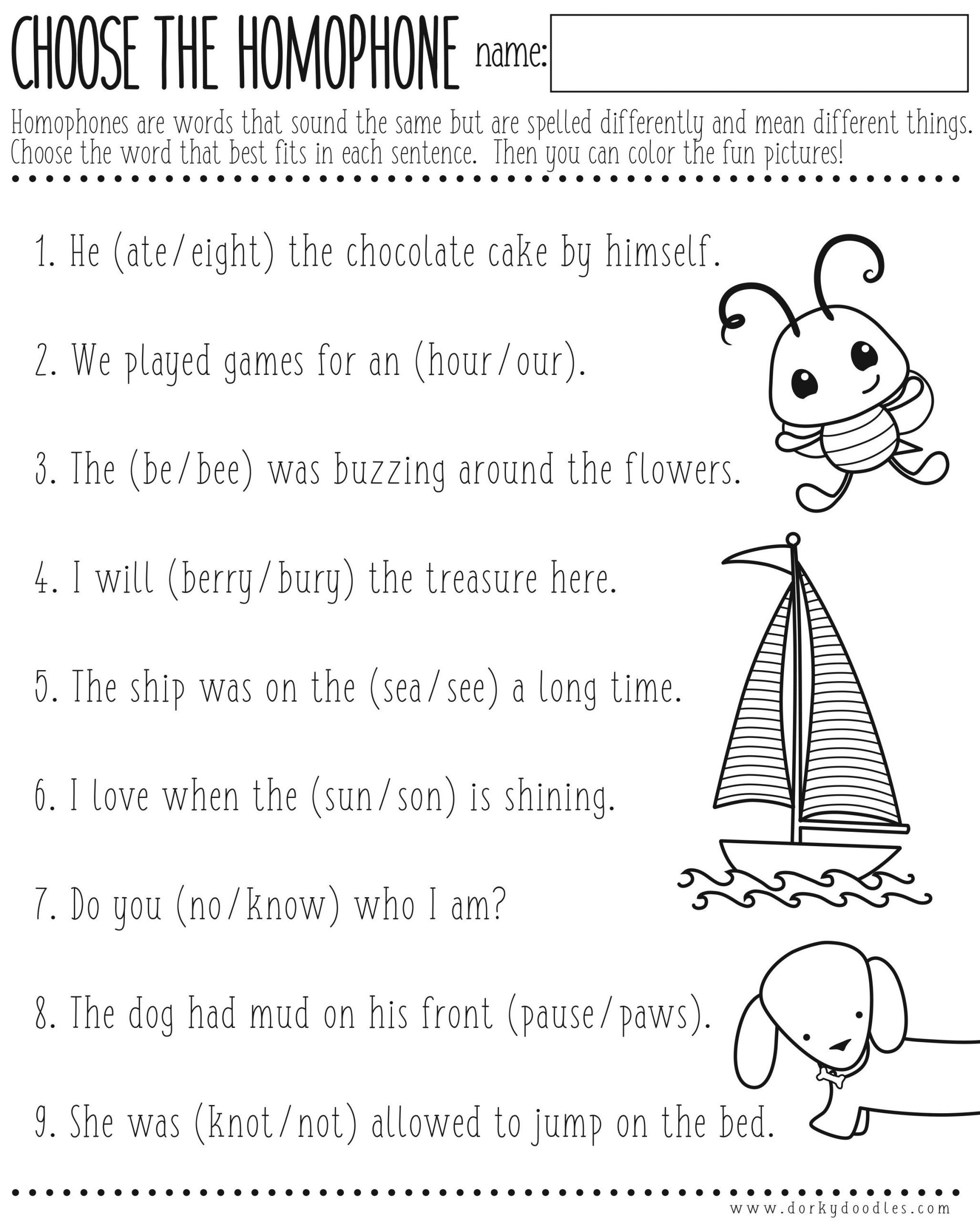 Free Homophone Worksheets Homophones Worksheet Printable – Dorky Doodles
