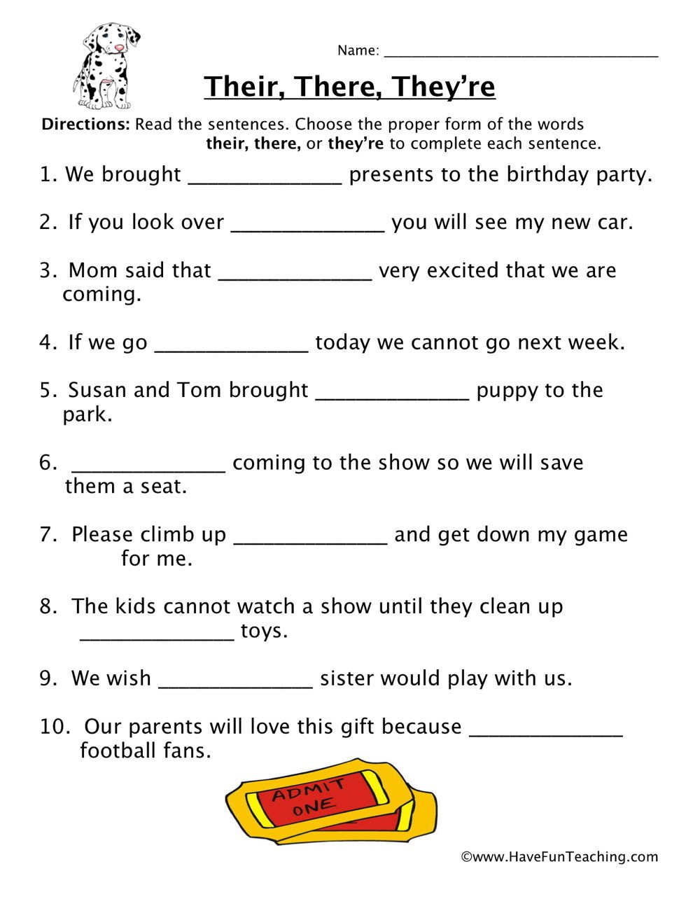 homophones worksheet 5