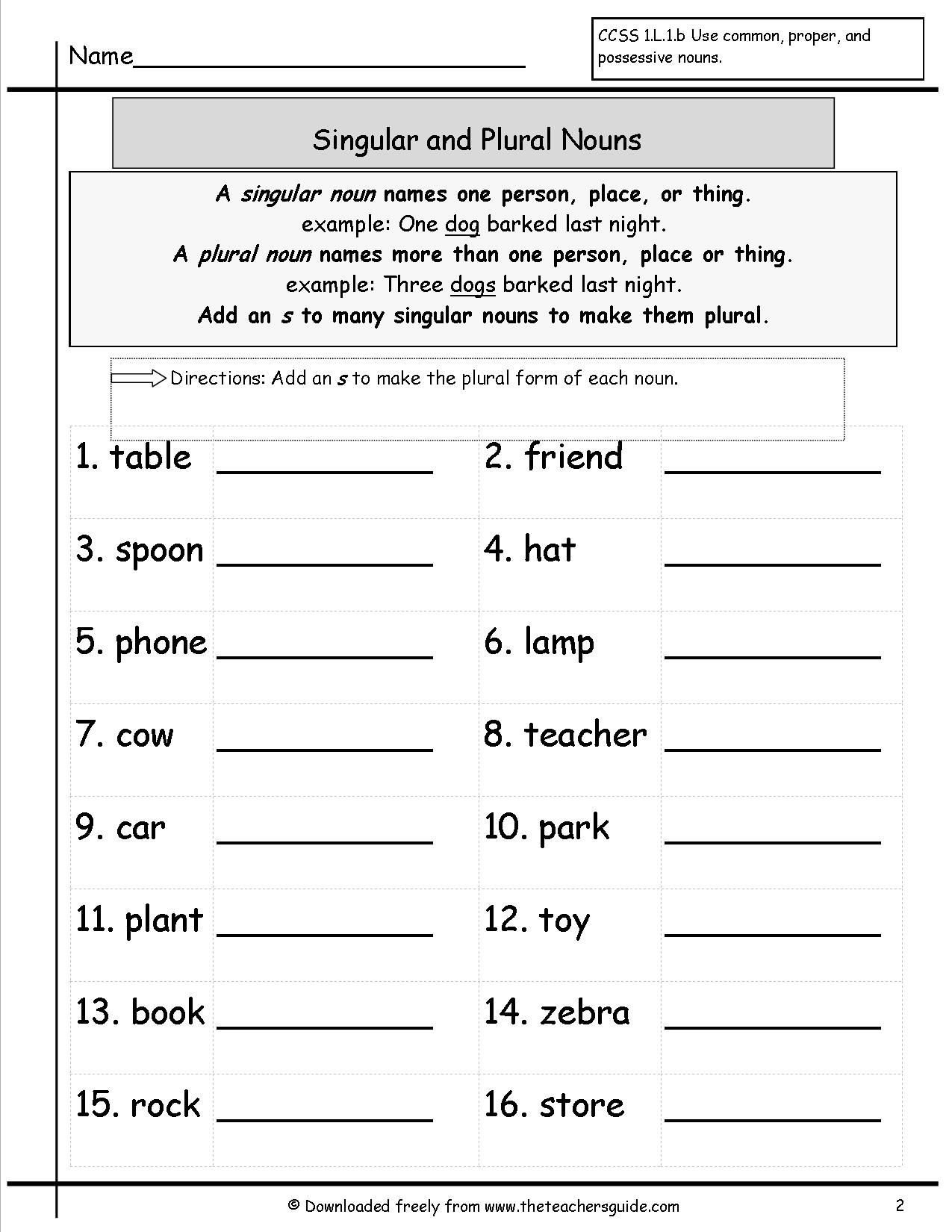 Free Irregular Plural Nouns Worksheet Singular and Plural Nouns Worksheets From the Teacher S