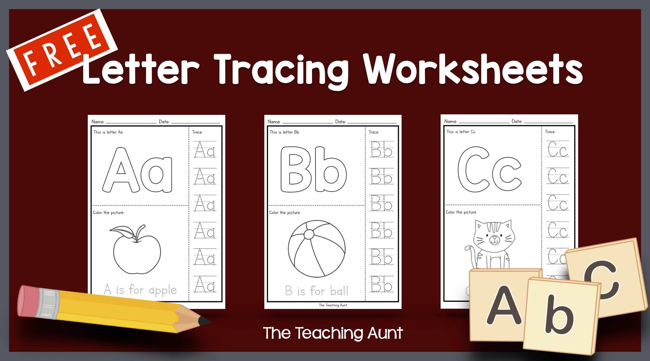 Free Letter Tracing Worksheets Pdf Letters Tracing Worksheets the Teaching Aunt