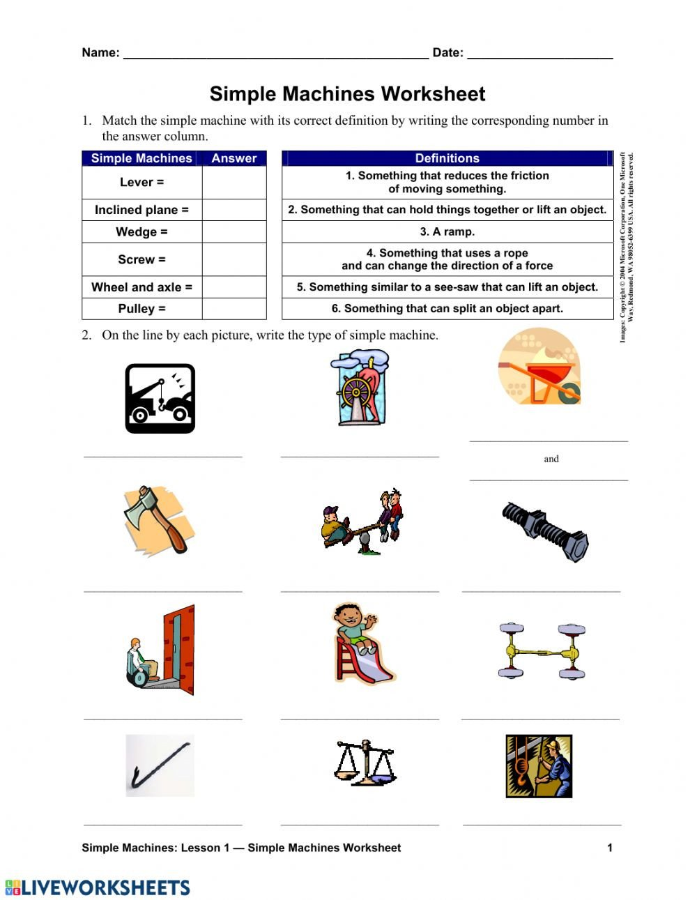 Free Measurement Worksheets Grade 1 Simple Machines Interactive Worksheet Worksheets Grade