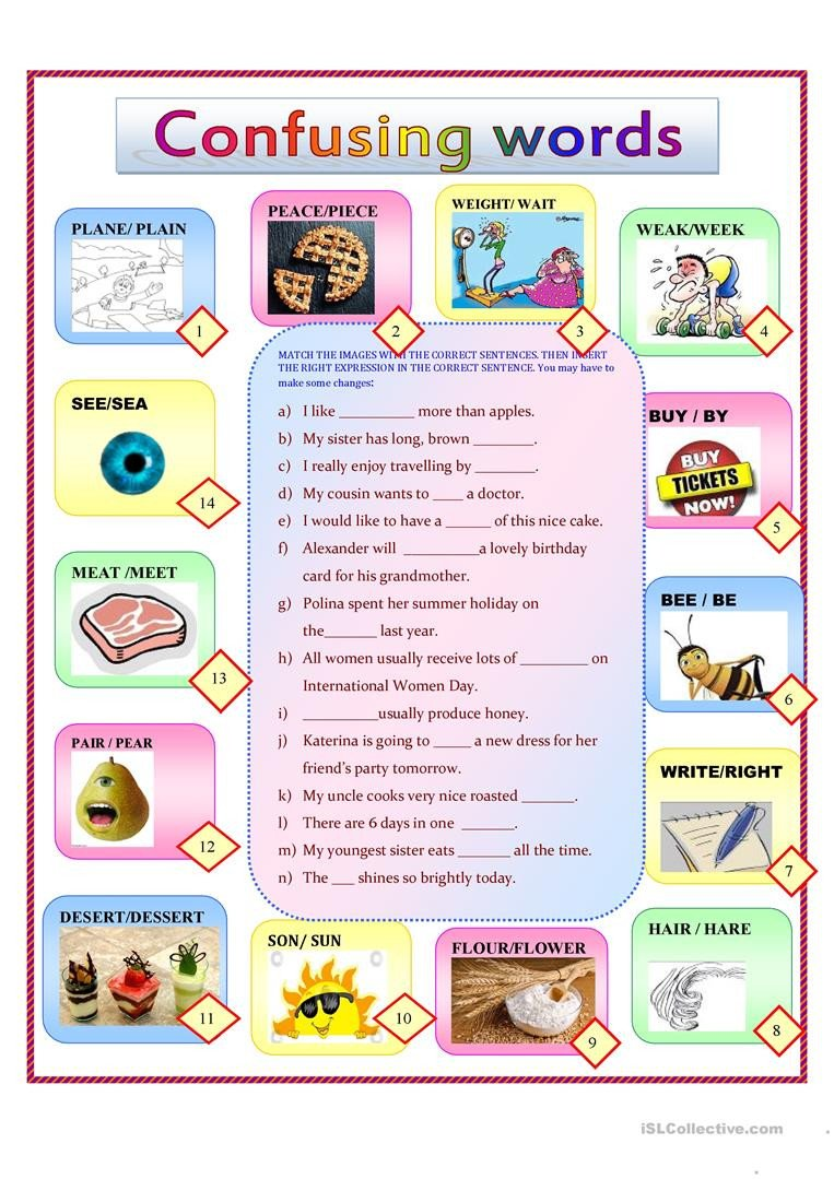 Free Printable Homophone Worksheets Homonyms for Kids English Esl Worksheets for Distance