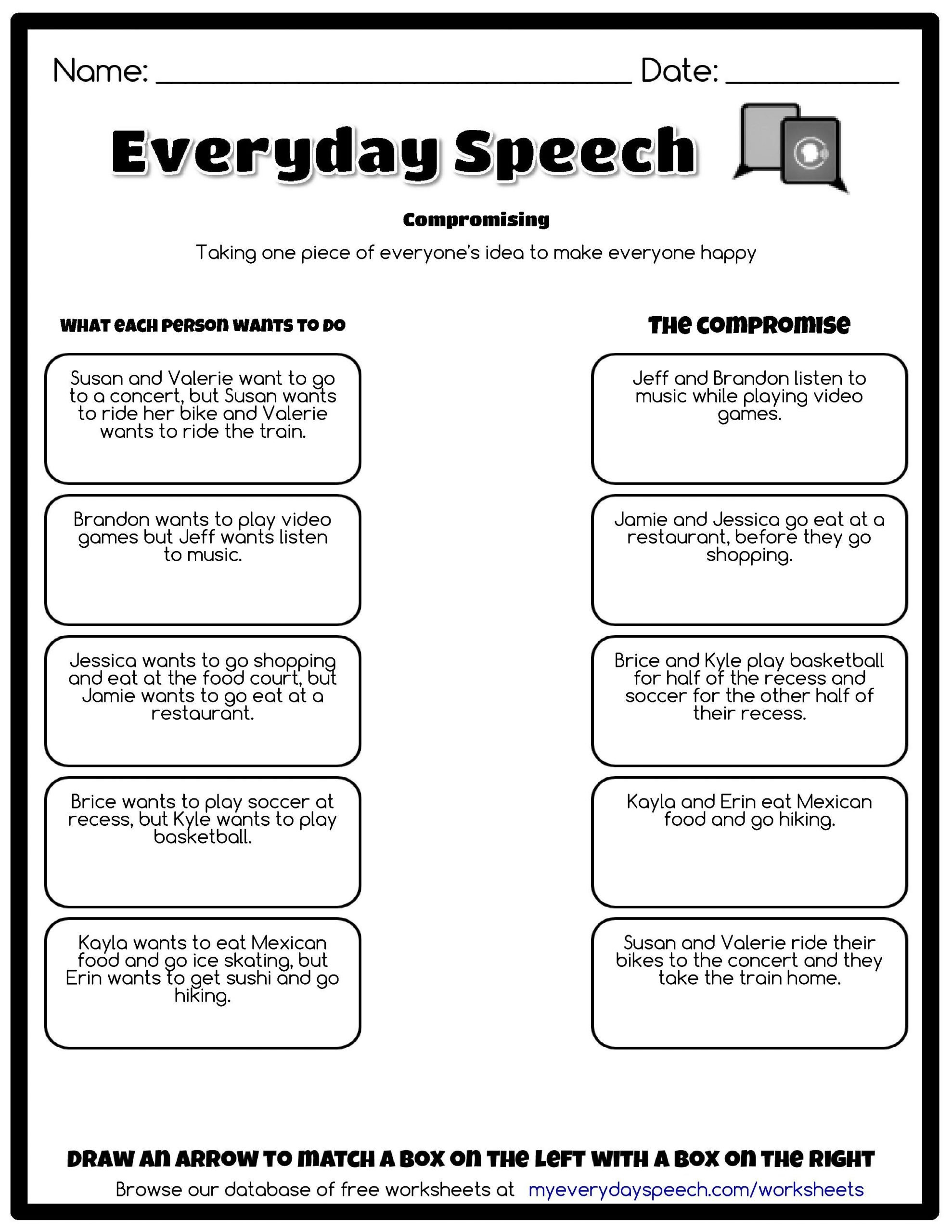 Free Printable social Skills Worksheets Everyday Speech Worksheet Creator