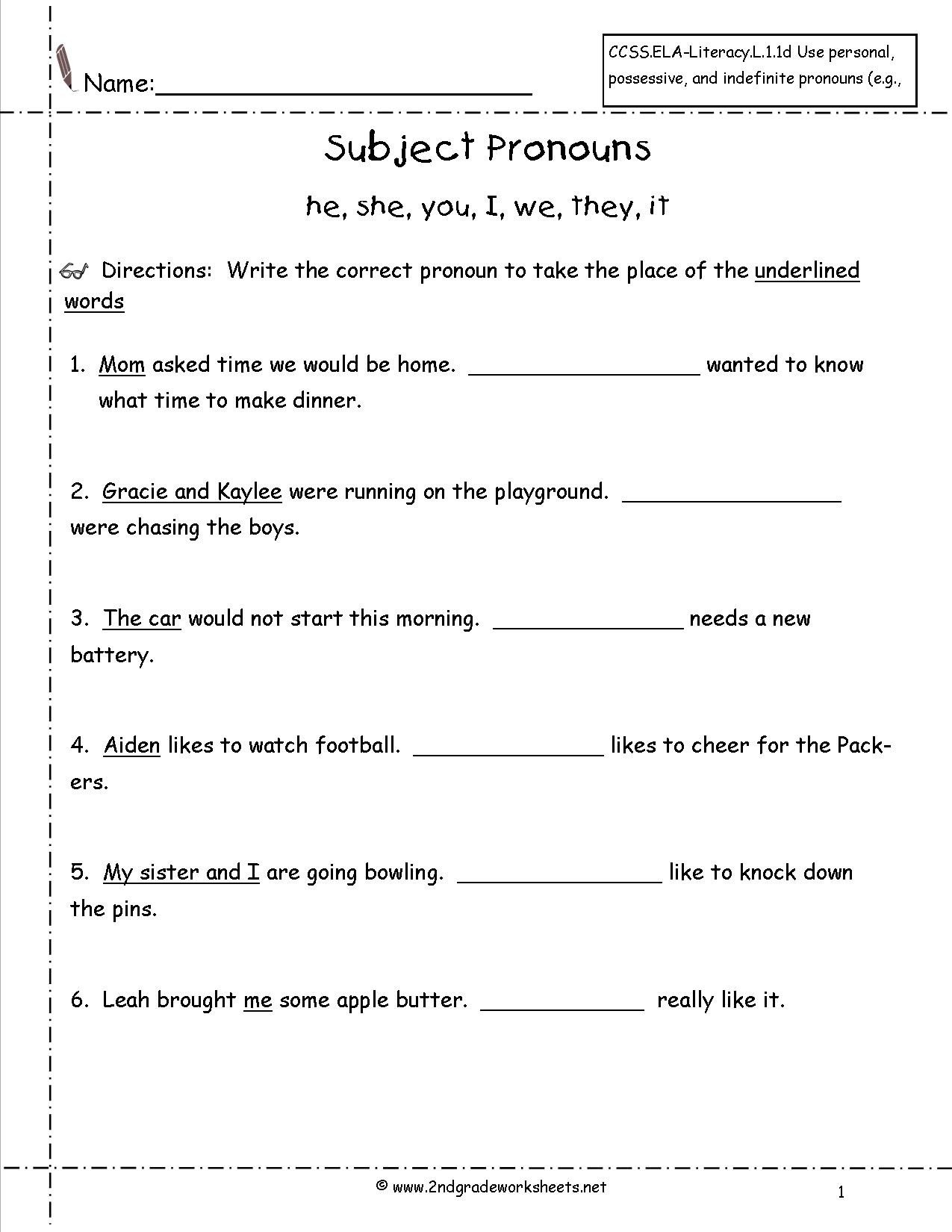 Free Pronoun Worksheets Subject Pronouns Worksheets Kindergarten