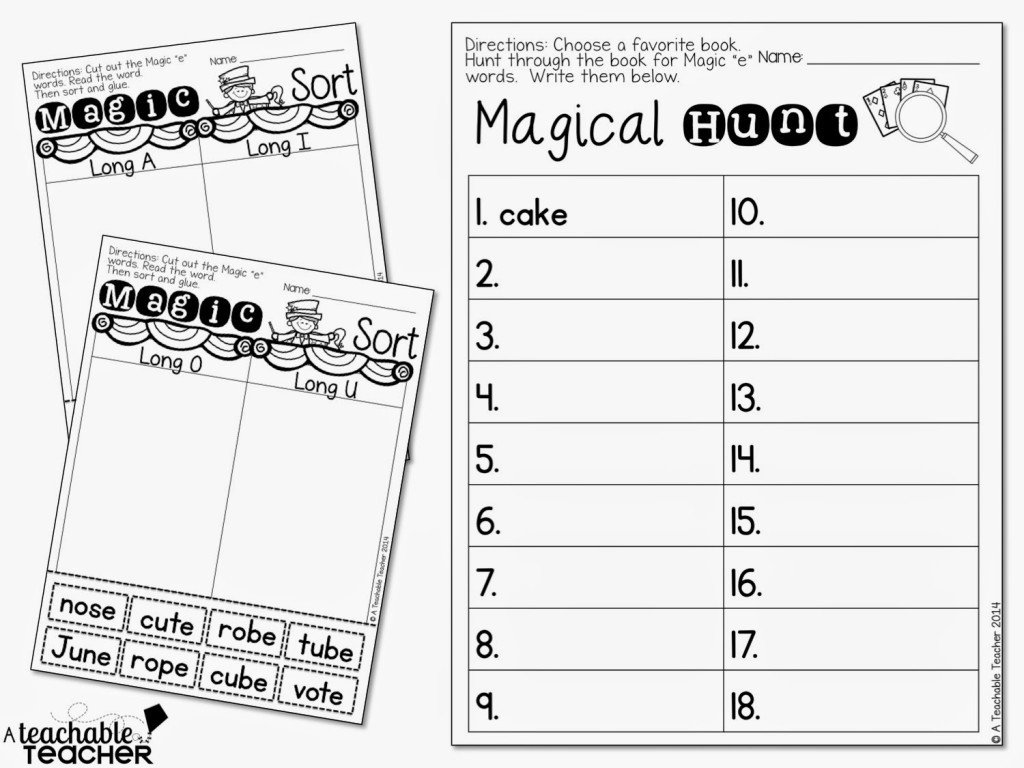 Free Silent E Worksheets Teaching Cvce with Magic E A Teachable Teacher