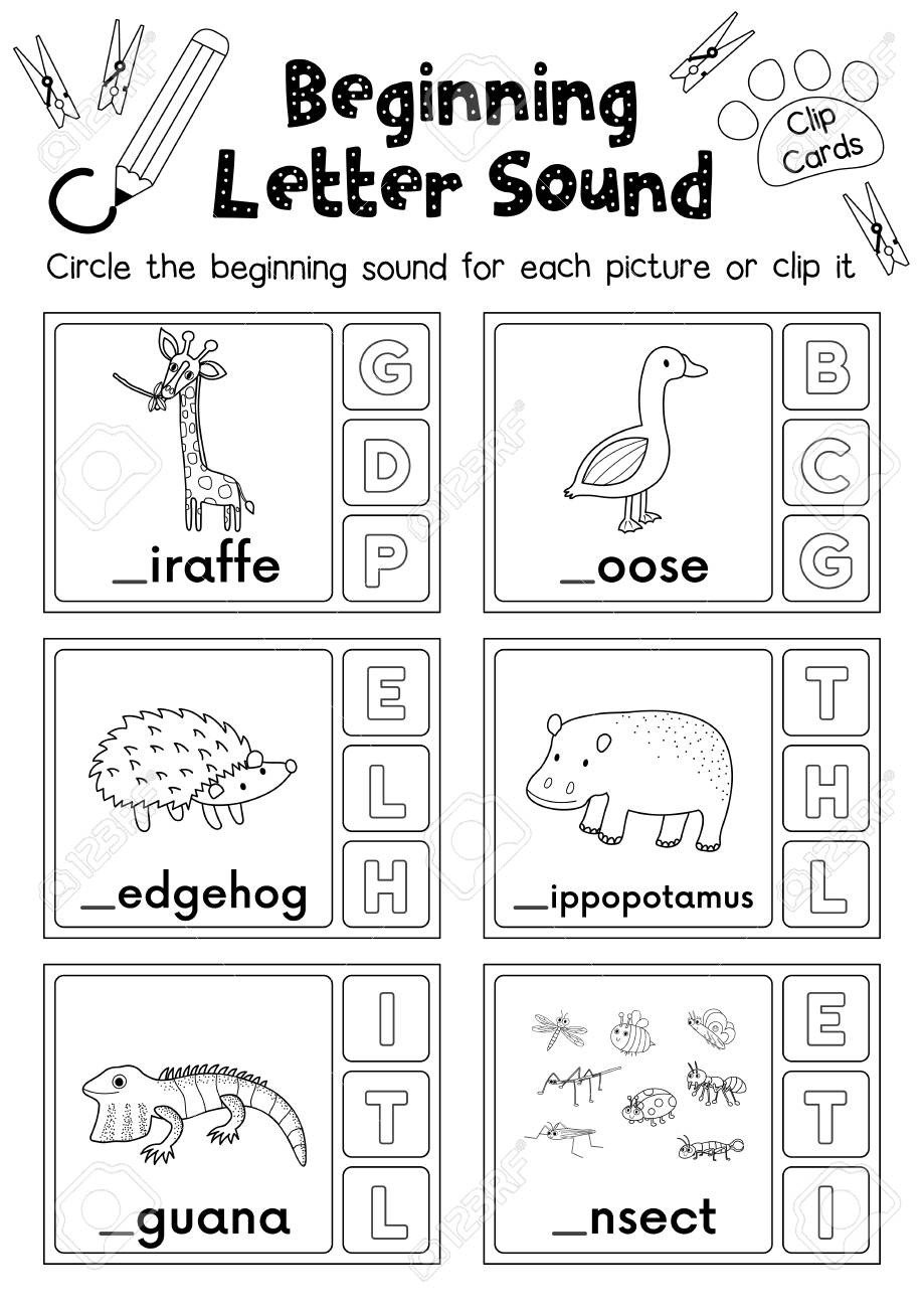 photo stock vector clip cards matching game of beginning letter sound g h i for preschool kids activity worksheet in an