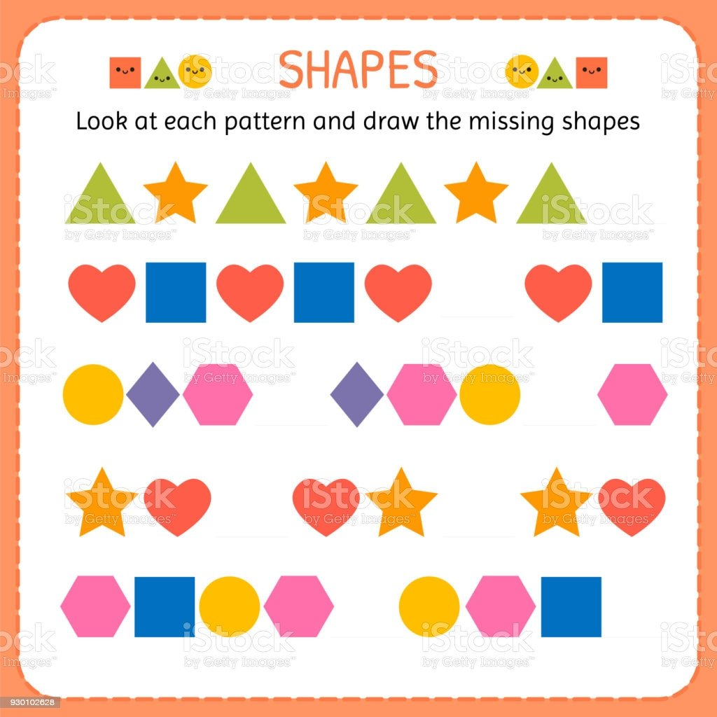 look at each pattern and draw the missing shapes learn shapes and geometric figures gm