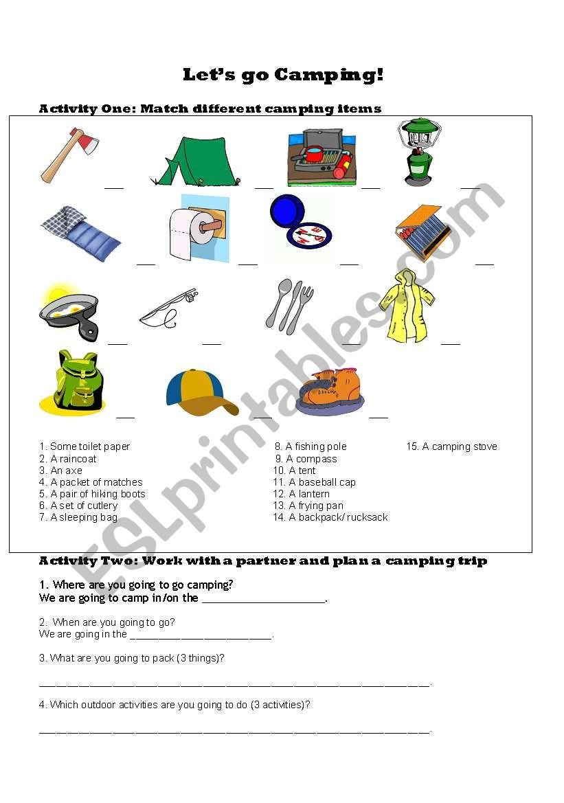 Grammar Camp Worksheet Packet Let´s Go Camping Esl Worksheet by Jaymel