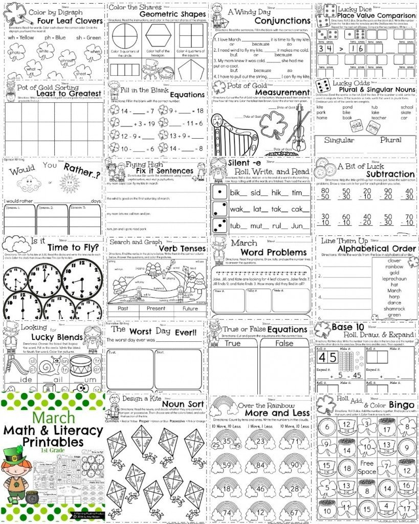 March First Grade Worksheets Math Grammar and Writing 819x1024