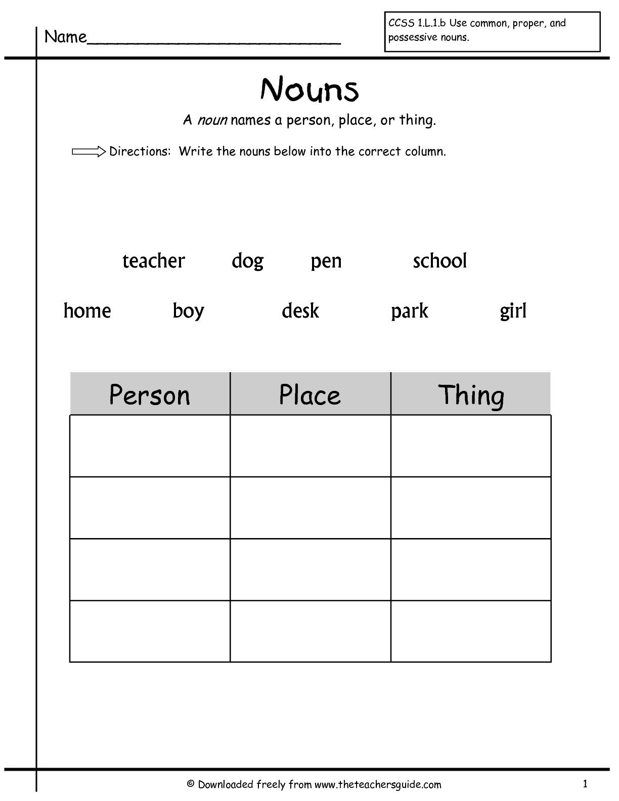 noun worksheets 1st grade free worksheets library and