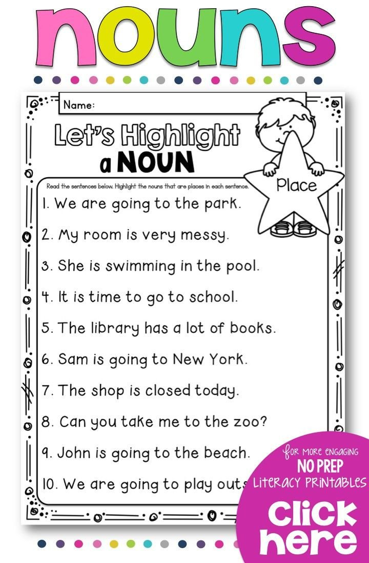 Grammar Worksheet 1st Grade Teach Your Students All About Nouns with This No Prep